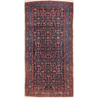 "Antique Malayer Geometric Hand-Knotted Wool Persian Oriental Rug - 6'9"" x 3'3"" Runner"