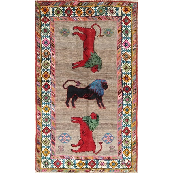 """Gabbeh Animal Pictorial Hand-Knotted Wool Persian Oriental Area Rug - 6'5"""" x 3'9"""""""
