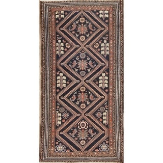 "Antique Bakhtiari Geometric Hand-Knotted Wool Persian Oriental Rug - 6'6"" x 3'4"" Runner"