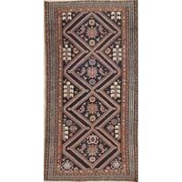 "Antique Bakhtiari Geometric Hand-Knotted Wool Persian Oriental Rug - 6'6"" x 3'4"" Runner"