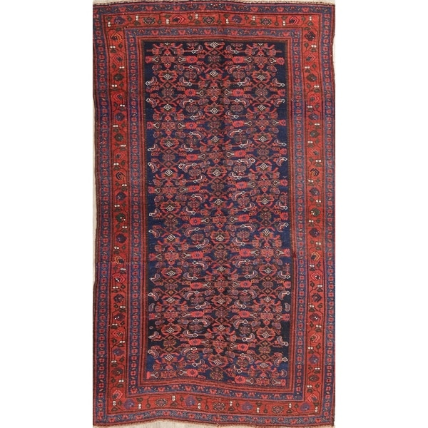 "Antique Bidjar All-Over Geometric Hand-Knotted Wool Persian Area Rug - 8'3"" x 4'8"""
