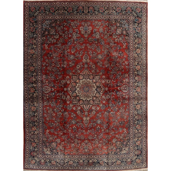 """Antique Sarouk Floral Medallion Hand-Knotted Wool Persian Area Rug - 17'4"""" x 12'1"""""""