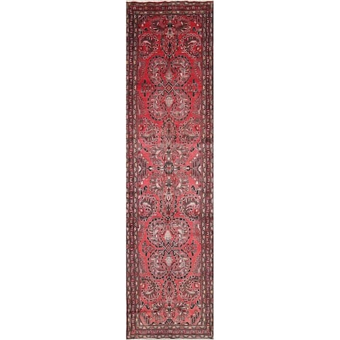 "Vintage Lilian Geometric Hand-Knotted Wool Persian Oriental Rug - 14'4"" x 3'7"" Runner"