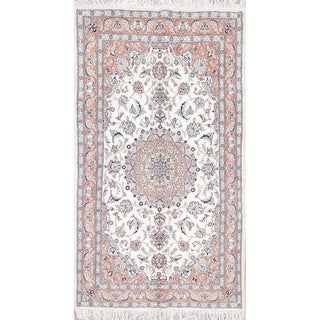 """Nain Floral Medallion Hand-Knotted Wool Persian Oriental Area Rug - 6'11"""" x 4'0"""""""