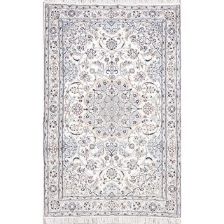 """Nain Floral Medallion Hand-Knotted Wool Persian Oriental Area Rug - 6'6"""" x 4'2"""""""