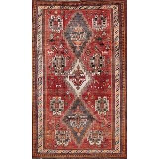 """Vintage Kashkoli Tribal Geometric Hand-Knotted Wool Persian Area Rug - 7'10"""" x 5'1"""""""