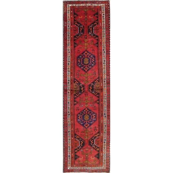 """Goravan Geometric Hand-Knotted Wool Persian Oriental Rug - 13'1"""" x 3'7"""" Runner"""