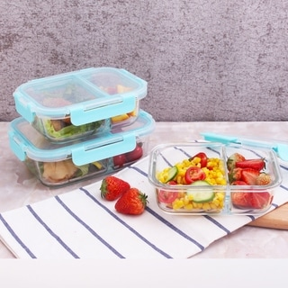 2-Compartment, 2 x 21.6 oz. and 1 x 35.5 oz. Rectangle Containers