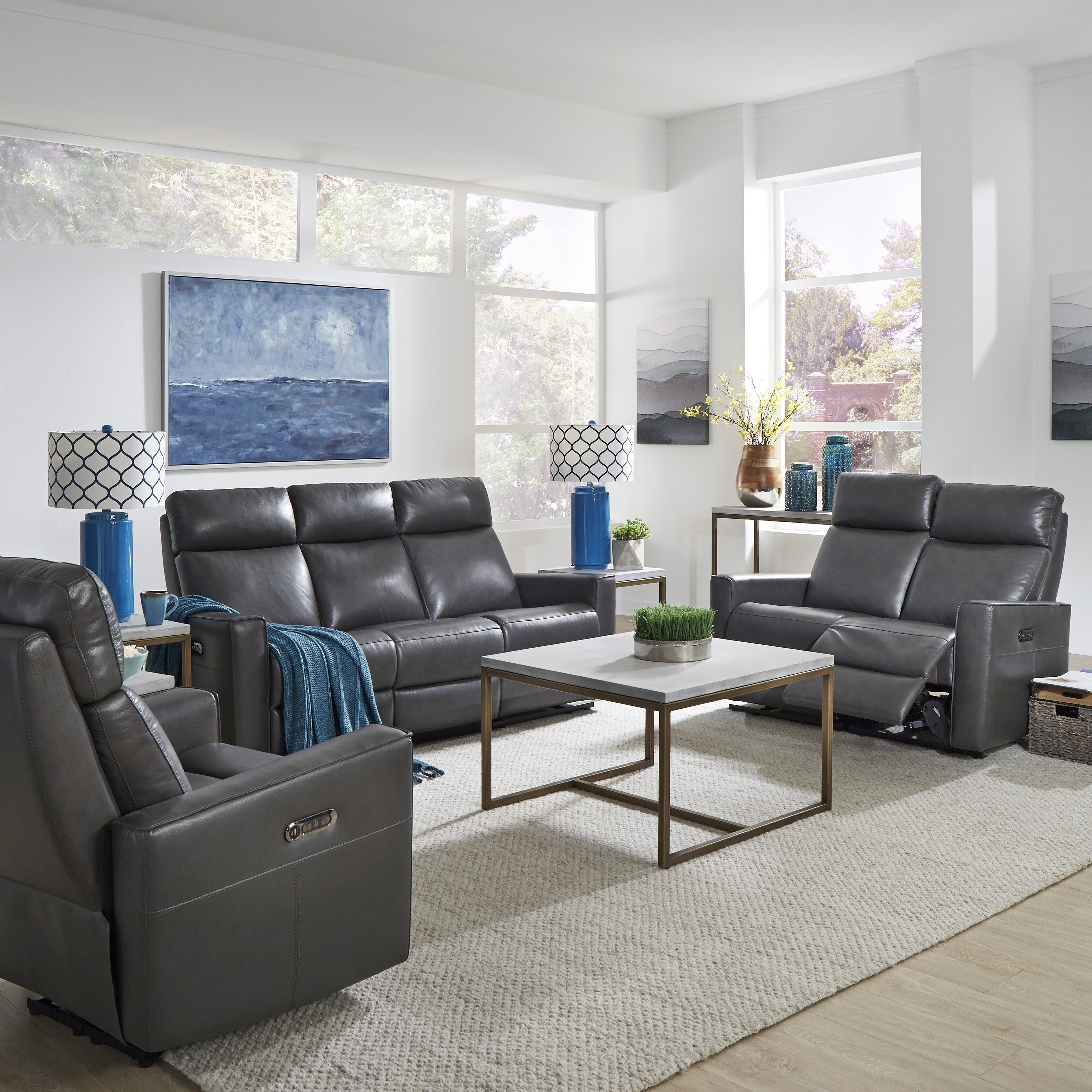 Wondrous Home Styles By Flexsteel Nuovo Leather Power Reclining Sofa Loveseat And Recliner Set Of 3 Ibusinesslaw Wood Chair Design Ideas Ibusinesslaworg