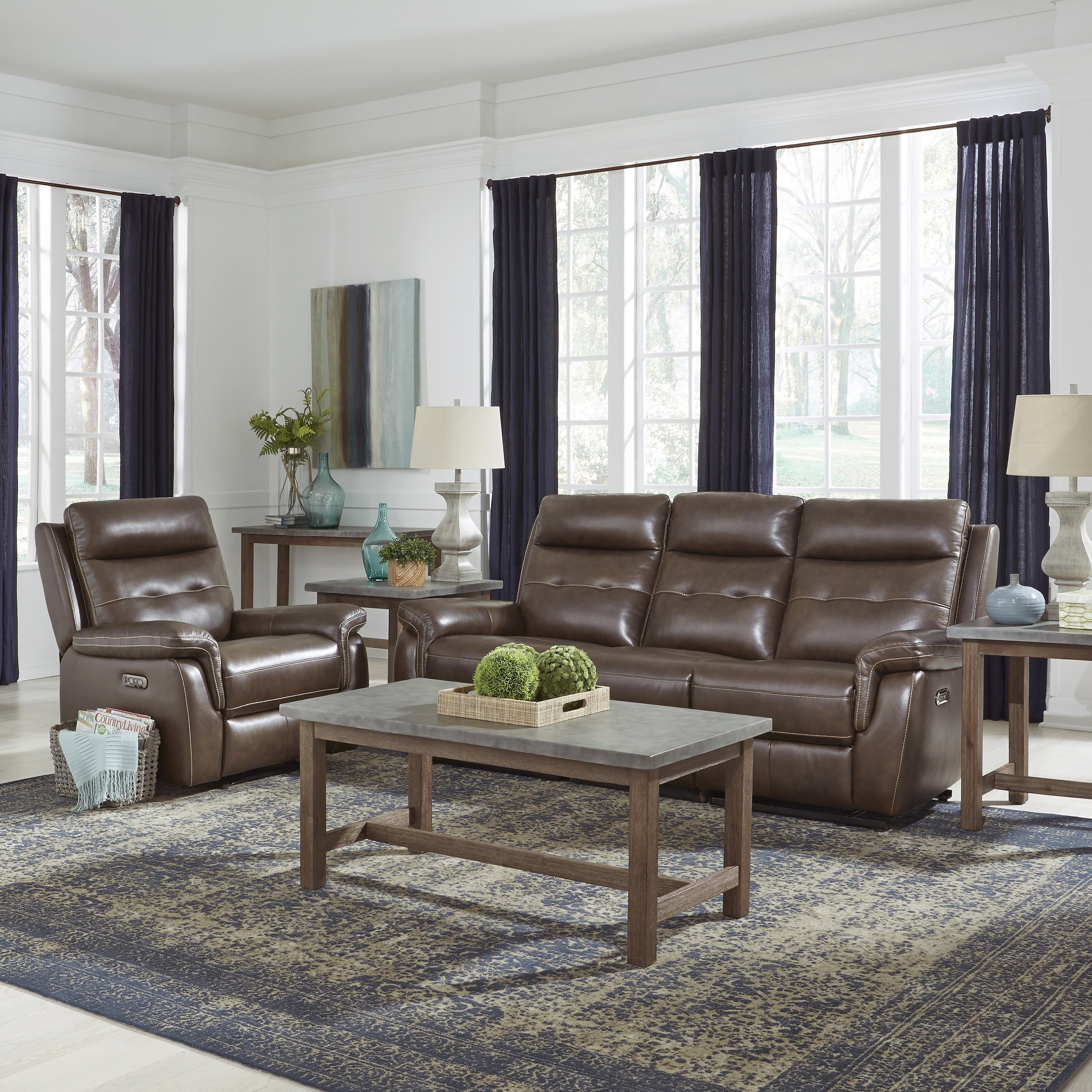 Marvelous Home Styles By Flexsteel Lux Leather Power Reclining Sofa And Recliner Creativecarmelina Interior Chair Design Creativecarmelinacom