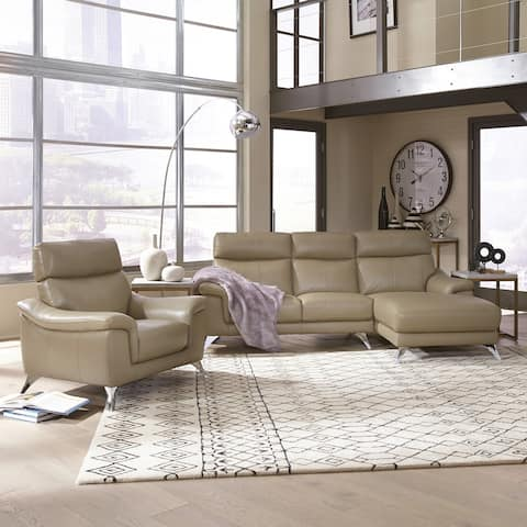 Home Styles by Flexsteel Moderno Leather Contemporary Upholstered Chaise Sofa & Chair