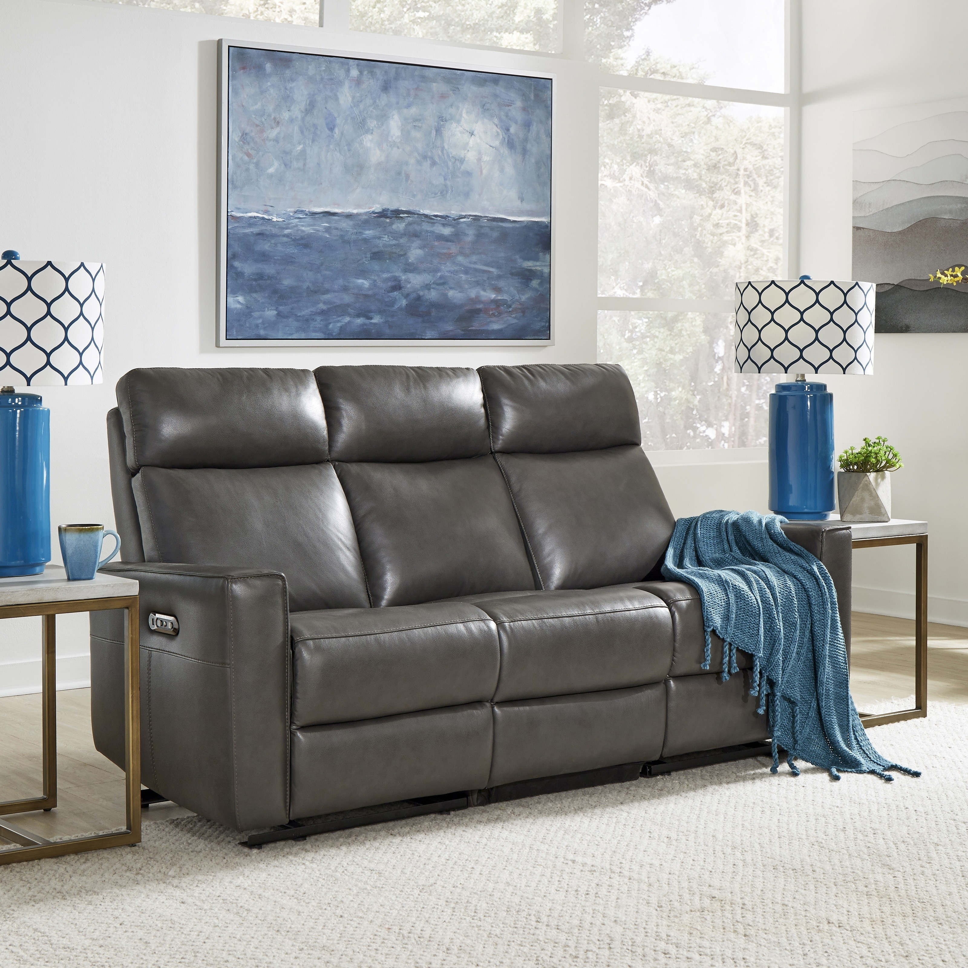 Astounding Home Styles By Flexsteel Nuovo Leather Power Reclining Sofa Ibusinesslaw Wood Chair Design Ideas Ibusinesslaworg
