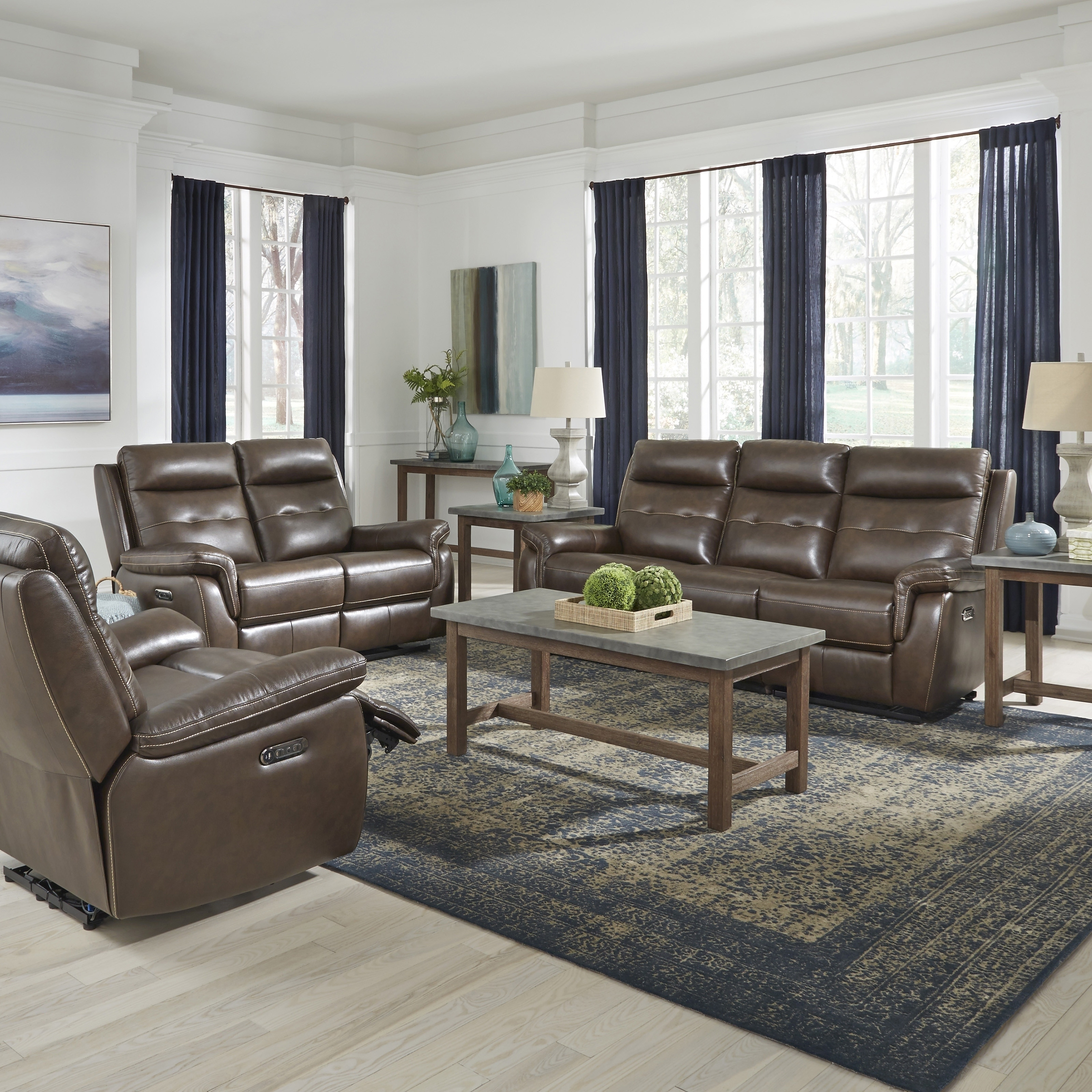 Astounding Home Styles By Flexsteel Lux Leather Power Motion 3 Pc Reclining Sofa Console Love Seat Recliner Ibusinesslaw Wood Chair Design Ideas Ibusinesslaworg