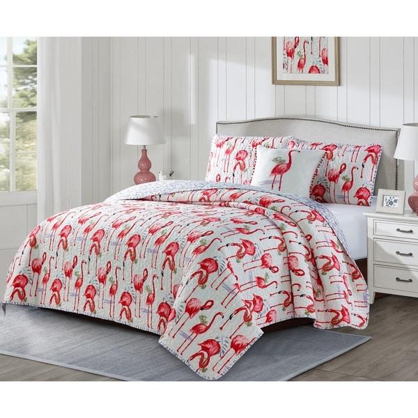 Porch & Den Eldorado Flamingo 4-piece Quilt Set