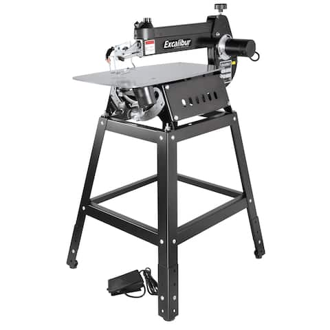 "General International Excalibur 16"" Tilting Head Scroll Saw Kit w/ Foot Switch & Stand - Black"