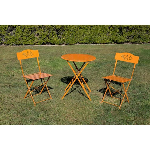 Alpine Metal 3-Piece Floral Bistro Set, 1 Table and 2 Chairs, Orange, 28 Inch Tall