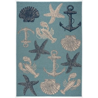 GAD Ashore Blue and Grey Transitional Indoor/Outdoor Area Rug - 5'3 x 7'7