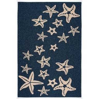 Starfish Navy/Beige Transitional Design Indoor/Outdoor Area Rug - 5'3 x 7'7