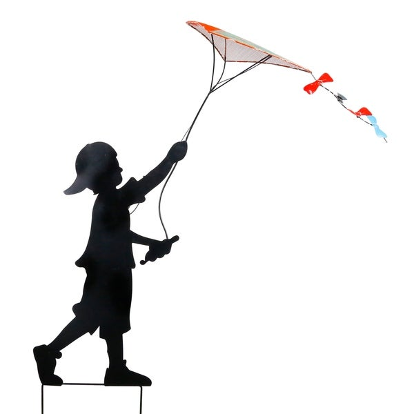 Alpine Solar Boy Silhouette Flying Kite Décor, 41 Inch Tall