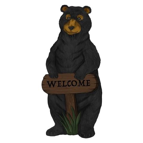 Alpine Welcome Sign Bear Garden Statue w/ Timer, 36 inch Tall