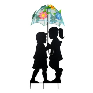Alpine Corporation Solar Girl and Boy Silhouette with Umbrella Decor with LED Lights