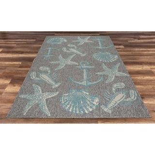 Ashore Grey/Blue Indoor/Outdoor Area Rug - 5'3 x 7'7