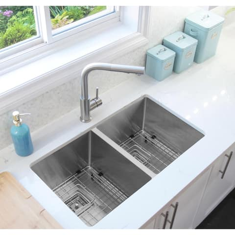 32'' Undermount Double Bowl Kitchen Sink, 16 Gauge Stainless Steel, Two Grids, Two Square Strainers, C232