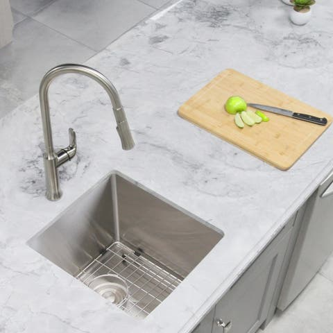 "16""x 18"" Kitchen Sink 18G Stainless Steel with Grid S-309G - Pearl - 16'' x 18'' x 10''"