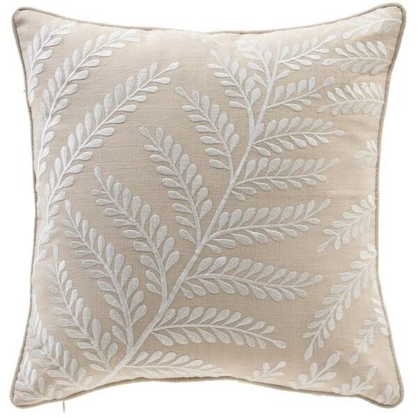 """Elegant Leaf 17"""" Embroidery Cotton Throw Pillow"""