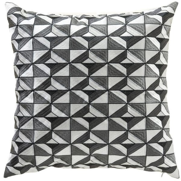 """Cubist Geometric 23"""" Embroidery Linen Blend Pillow Cover"""