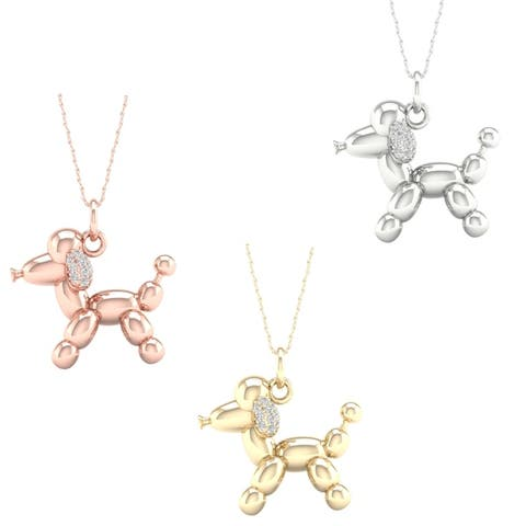 1/20ct TDW Diamond Charm Animal pet pendant in Sterling Silver - Poodle