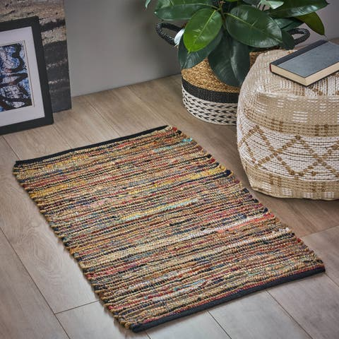 Morton Boho Hemp, Leather and Cotton Scatter Rug by Christopher Knight Home