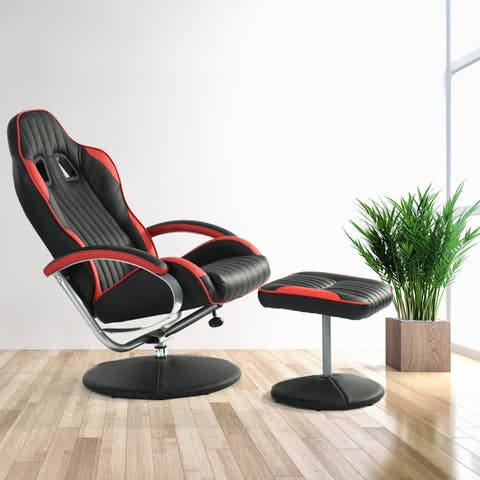 Porch & Den Tybalt Black and Red Faux Leather and Metal Manual Swivel Recliner with Ottoman