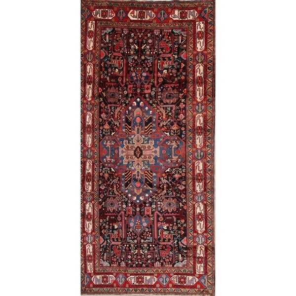"Nahavand Tribal Geometric Hand-Knotted Wool Persian Oriental Rug - 10'4"" x 4'10"" Runner"