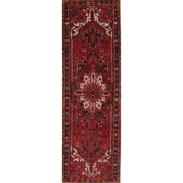"Heriz Geometric Hand-Knotted Wool Persian Oriental Rug - 10'8"" x 3'3"" Runner"