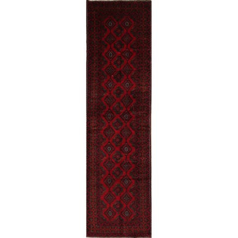 """Balouch Geometric Hand-Knotted Wool Persian Oriental Rug - 12'5"""" x 3'5"""" Runner"""