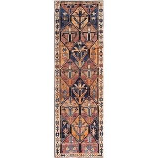 "Vintage Bakhtiari Geometric Hand-Knotted Wool Persian Oriental Rug - 12'0"" x 3'9"" Runner"