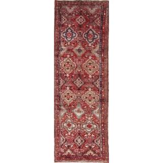"""Vintage Hamedan Geometric Hand-Knotted Wool Persian Oriental Rug - 10'2"""" x 3'4"""" Runner"""