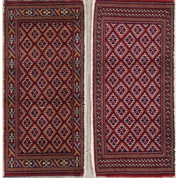 """Set of 2 Bokhara Geometric Hand-Knotted Wool Persian Oriental Area Rug - 1'6"""" x 3'4"""""""