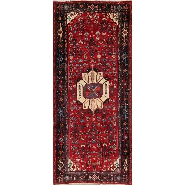"Vintage Bidjar Tribal Geometric Hand-Knotted Wool Persian Oriental Rug - 9'7"" x 4'2"" Runner"