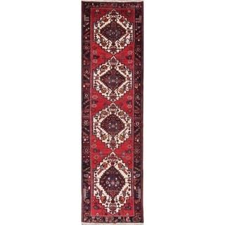 "Vintage Bakhtiari Geometric Hand-Knotted Wool Persian Oriental Rug - 12'11"" x 3'7"" Runner"