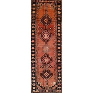 "Antique Bidjar Geometric Hand-Knotted Wool Persian Oriental Rug - 13'2"" x 4'4"" Runner"