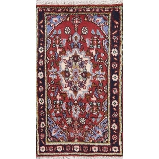 "Hamedan Geometric Hand-Knotted Wool Persian Oriental Area Rug - 2'10"" x 1'8"""