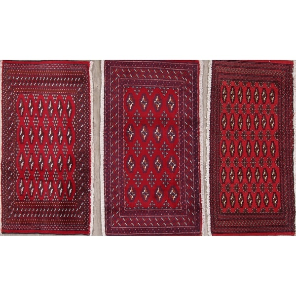 """Set of 3 Bokhara Geometric Hand-Knotted Wool Persian Oriental Area Rug - 1'10"""" x 3'5"""""""