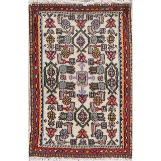 """Vintage Lilian Geometric Hand-Knotted Wool Persian Oriental Area Rug - 2'9"""" x 1'10"""""""