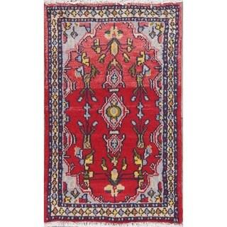 "Vintage Hamedan Geometric Hand-Knotted Wool Persian Oriental Area Rug - 2'10"" x 1'9"""
