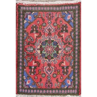 "Hamedan Floral Hand-Knotted Wool Persian Oriental Area Rug - 2'7"" x 1'11"""