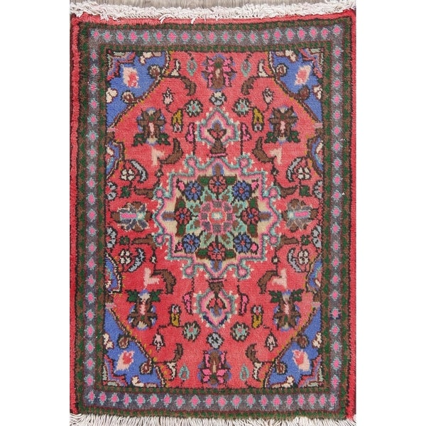 """Hamedan Floral Hand-Knotted Wool Persian Oriental Area Rug - 2'7"""" x 1'11"""""""