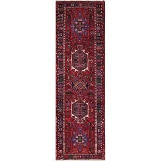 "Gharajeh Tribal Geometric Hand-Knotted Wool Persian Oriental Rug - 6'10"" x 2'2"" Runner"
