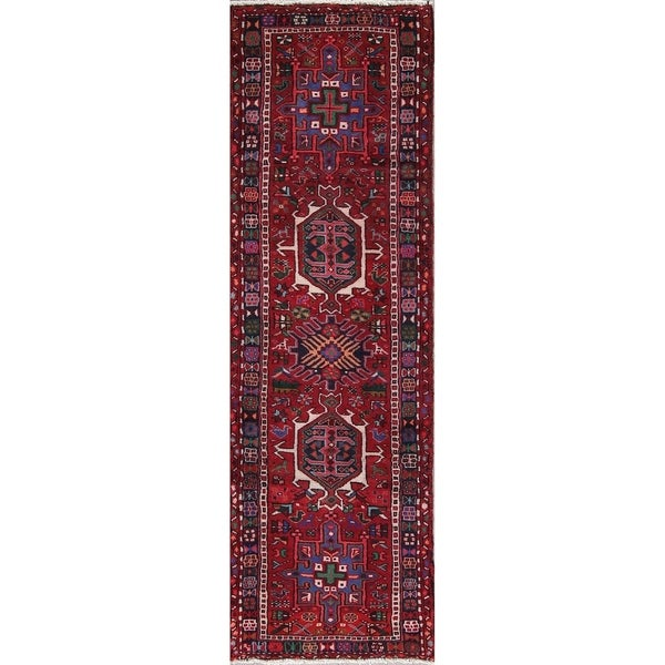 "Gharajeh Tribal Geometric Hand-Knotted Wool Persian Oriental Rug - 6'10"" x 2'2"" Runner"